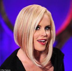 Cropped: Jenny McCarthy revealed a pink-streaked asymmetric cut during a Thursday taping of her Jenny McCarthy Show in New York City