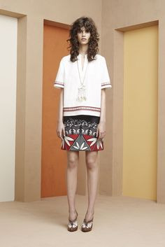 Tory Burch | Resort 2016 | 21 White short sleeve top and black/white/red floral mini skirt