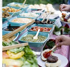 burger bar for casual bbq rehearsal dinner - GREAT idea for the Friday? Make the rehearsal - BBQ tea then meet other people out for a drink? Wedding Food Bars, Wedding Buffet Food, Wedding Reception Food, Wedding Catering, Food Buffet, Wedding Ideas, Trendy Wedding, Reception Ideas, Fall Wedding