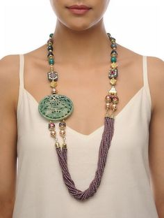 Buy Green Grey Golden Carved Onyx Necklace Crystal Agates Metal Alloy Fashion Jewelry Necklaces/Pendants The Color Wheel Statement beaded necklaces with pendants Online at Jaypore.com