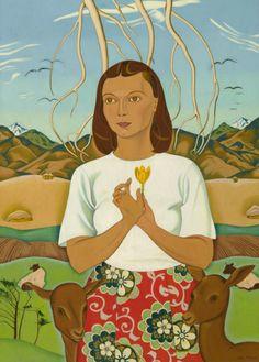 Rita Angus - A Goddess of Mercy, oil on canvas, 866 x 1945 - 47 Collection: Christchurch Art Gallery Te Puna o Waiwhetu Lund, Matisse, Tamara Lempicka, Georgia O'keeffe, Folk, New Zealand Art, Nz Art, Kiwiana, Public Art