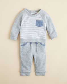 Bloomie's Infant Boys' Chambray Trim Top & Pants Set, Sizes 3-9 Months - 100% Bloomingdale's Exclusive