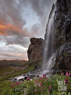 Alpine Waterfall with Wildflowers at Sunset, San Juan National Forest, Colorado, USA, North America Photographic Print by James Hager at Art.com