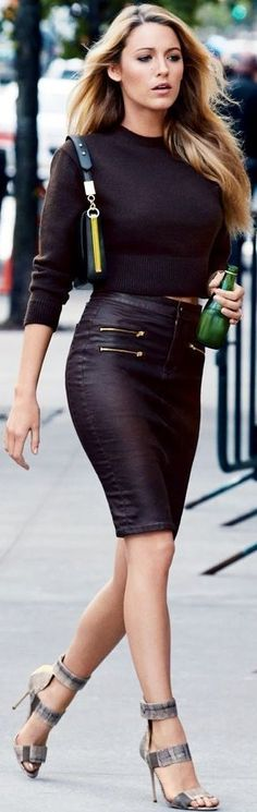 sweater + leather skirt + stiletto = god blake lively is perfect