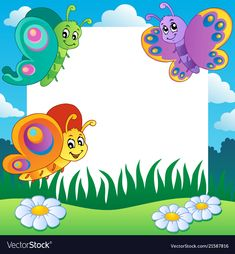 Frame with butterflies theme 1 vector image on VectorStock Cute Cartoon Drawings, Art Drawings For Kids, Drawing For Kids, Kids Background, Animation Background, Flower Border Png, School Border, Cartoon Trees, Boarders And Frames