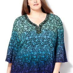 Embellished Paisley Dip Dye Tunic-Plus Size Tunic-Avenue