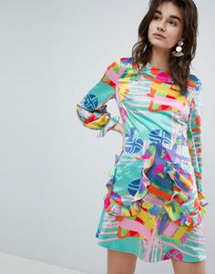 994c382c498 House of Holland House Of Holland Nova Printed Mini Dress  ruffles   colorful  roundneck