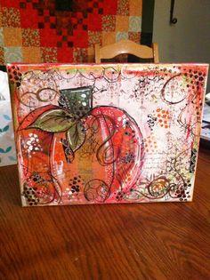 Pumpkin, fall mixed media art