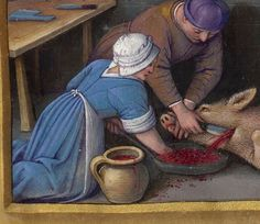 Hat/coif from a different angle Construction seams in Horae ad usum Romanum, dites Grandes Heures d'Anne de Bretagne Medieval Life, Medieval Dress, Medieval Art, Medieval Paintings, European Paintings, Renaissance Clothing, Historical Clothing, Art Viking, Viking Ship