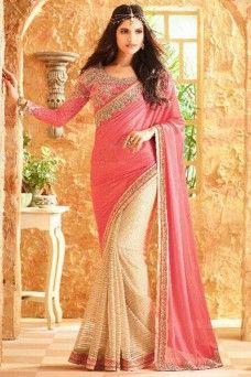 Pink and Cream Gorgeous Designer Indian Women Traditional Saree  #pink #cream #style #model #designersaree #partywearsaree #indiandesigner #womenfashion #weddingsaree #sari #fancysaree #latestdesignersaree #sari #indianwomenfashion #netsaree #TFH #Gebastore