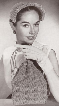 Vintage 1950's Hat & Drawstring Bag Crochet Patterns
