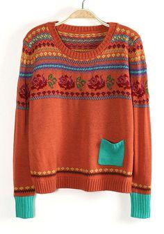 Orange Long Sleeve Folwer Pattern Pocket Sweater - Sheinside.com