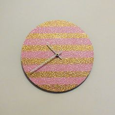 Wall Clock Pink and Gold Decor  Decor and by Shannybeebo on Etsy, $47.00