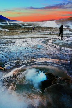 El Tatio is a geyser field located within the Andes Mountains of northern Chile at meters above mean sea level. Version Voyages, www. Places To Travel, Places To See, Travel Destinations, Places Around The World, Around The Worlds, Bolivia Peru, San Pedro, Andes Mountains, Equador