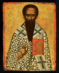 St Basil the Great icon, Cretan, c. 28 x cm Byzantine Icons, Byzantine Art, Greek Icons, St Basil's, Russian Icons, Best Icons, Art Icon, Orthodox Icons, Sacred Art