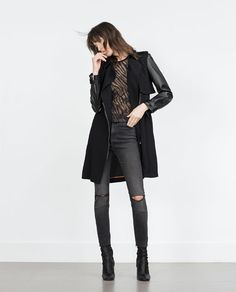 Image 1 of TRENCH COAT WITH FAUX LEATHER SLEEVES from Zara
