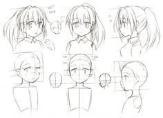 Junk Sketch 115 by CatPlus.deviantart.com on @deviantART. Shows the proper proportions of drawing a female anime/manga character's head, from 3 different angles.
