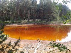 Orange Lake in Geopark Luk Muzakowa, Poland