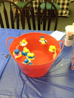 Rubber duck game for carnival themed baby shower.