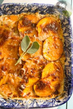 Homemade Scalloped sweet potatoes that are rich, creamy, and cheesy.