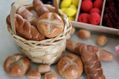 How to Make Doll Food: Bread   Plus Our Doll Farmer's Market, via YouTube. Awesome Tutorial love the salt dough look!