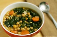 "North African Chickpea and Kale Soup Recipe. I make this all the time. My kids call it ""Simon Soup"" Vegetarian Entrees, Vegetarian Soup, Kale Soup Recipes, Chickpea Soup, White Bean Soup, Cooking Recipes, Healthy Recipes, Healthy Food, Healthy Eating"