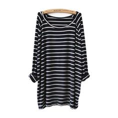 SheIn(sheinside) Navy White Striped Long Sleeve T-Shirt (€15) found on Polyvore featuring tops, t-shirts, dresses, shirts, chosth, black, navy blue long sleeve shirt, t shirts, cotton long sleeve t shirts and striped long sleeve shirt