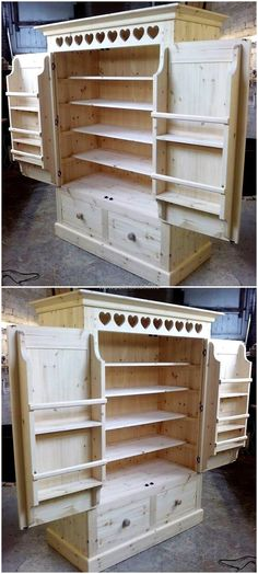 Here comes an exceptional craft for you that is entirely shaped out with the beautiful use of wooden pallet all around it. Thispallet closet plan with artistically crafted pallet doors and wooden drawers are specially designed to meet your storage needs with your own crafted plan.  #pallets #woodpallet #palletfurniture #palletproject #palletideas #recycle #recycledpallet #reclaimed #repurposed #reused #restore #upcycle #diy #palletart #pallet #recycling #upcycling #refurnish #recycled