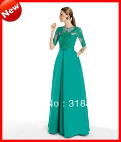 Spring 2014 Green Satin Mother Of The Bride Dresses Beach Half Sleeve Embroidered On Net Scoop See Through Modest Dress Gown Hot $159.00