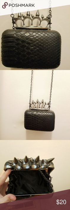 Goth Spiked brass knuckles shoulder bag Gothic / Punk unique spiked faux leather snake skin/dragon scales small shoulder bag / clutch! Perfect size to carry wallet , phone , keys , etc.. can be thrown over shoulder or carried as clutch! Like new 🖤🦇🖤 Bags Shoulder Bags