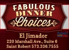 Pulaski County's dining options are varied and diverse. Our restaurants offer German, Thai, Italian, Greek, Mexican, Oriental & American classics. We also have several national chain options that will offer you a taste from your own neck of the woods. El Jimador brings the taste of south of the border to Pulaski County! #PulaskiCountyUSA #DinePulaski #EatLIkeALocal #OnlyPulaski