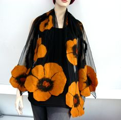 Nuno felted shawl - large scarf - wool and silk - Black silk scarf Nuno felted shawl. This large scarf wrap. Hand-made, high quality, 100% natural