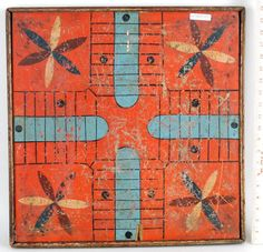 Folk Art painted American game board, double sided, Parcheesi board with checkerboard verso. on Apr 2017 Indians Game, Medieval Games, Indian Paintings, Art Paintings, Oil Painting Tips, American Games, Vintage Board Games, Floor Cloth, Watercolor Paintings Abstract