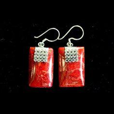 2 x 925 Silver Coral Dangling Earrings hand-made in Bali 1 x Leaf, 1 x Mini Disk