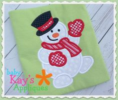 Waving Snowman Applique - Here is a friendly snowman. He is a fun and happy design for Christmas or all winter long!