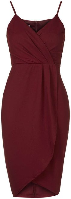 Womens burgundy wrap over midi dress by wal g - from Topshop - £32 at ClothingByColour.com