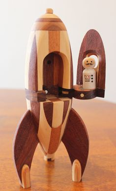 Incredible detail put into this wood spaceship. Woodworking toys are pretty cool
