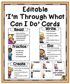 "How often do we hear, ""I'm done, what can I do?"" Here is a set of cards to be displayed in your classroom to help alleviate this problem."