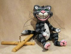 Cheshire Cat from Alice in Wonderland Marionette - made to order. $95.00, via Etsy.