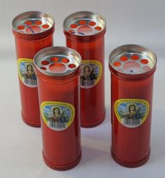 "Set of 4 Red Votive Candles - "" Santa Lucia "" [ Italian Import ]"