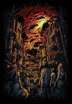 Quando James sai do hospital Dark Art Illustrations, Illustration Art, Fantasy Landscape, Fantasy Art, Dan Mumford, Bloodborne Art, Heavy Metal Art, Acid Art, Music Artwork