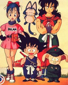 Bulma, Goku, Oolong, Yamcha, and Puar. I don't care how many times Yamcha dies I still love him as much as I love Trunks