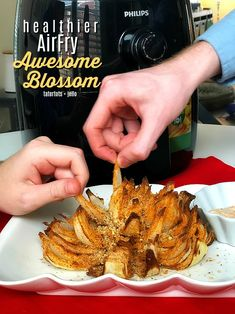 Healthier AirFry Awesome Blossom Recipe - less calories! - Healthier AirFry Awesome Blossom Recipe - less calories! Air Fryer Oven Recipes, Air Frier Recipes, Blooming Onion Recipes, Air Fried Food, Air Fryer Healthy, Fat Foods, Healthy Foods, Healthy Recipes, Veggie Recipes