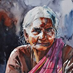 Stunning Watercolor Paintings by Indian Artist R Rajkumar Sthabathy Watercolor Paintings For Beginners, Watercolor Artists, Watercolor Portraits, Painting Portraits, Watercolour, Zebra Kunst, Zebra Art, Art And Illustration, Photography Illustration