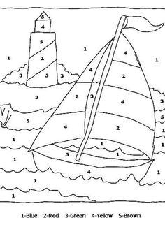 Color By Numbers Sail Boat