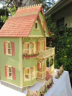 This Gothic Victorian inspired dollhouse began as a Tennyson. I liked the basic footprint for the house however, felt it needed major des. Victorian Dolls, Victorian Dollhouse, Dollhouse Dolls, Victorian Gothic, Dollhouse Miniatures, Modern Dollhouse, Victorian House, Fairy Houses, Play Houses
