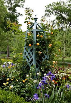 Iris and roses.  A Planters design.  Atlanta, GA