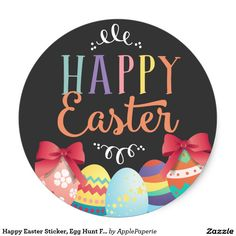 Happy Easter Sticker, Egg Hunt Favor Tags Classic Round Sticker, happy easter, easter egg hunt, egg hunt, happy easter tags, egg hunt tags, easter party, easter tags, easter, round, seals, chalkboard, script, calligraphy, typographic, Classic Round Sticker
