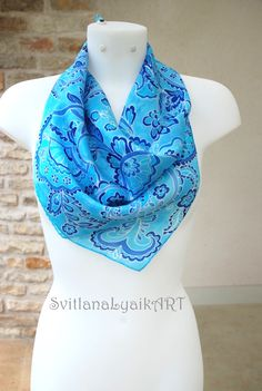 https://www.etsy.com/listing/262453399/  This year summer not very warm.... We need bright fresh accessories!!  My Blue paisley square scarf is small but full of positive summer energy!  This scarf is continue my summer collection.Silk is very soft and tender , the best for hot summer days!!!! This scarf painted without any sketches , all flowers and paisley motifs was born on silk..