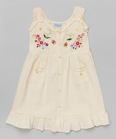Love this Natural Floral Embroidered Button Dress - Infant, Toddler & Girls by Little Cotton Dress on #zulily! #zulilyfinds